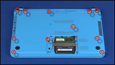 Locations of 11 Phillips-head screws securing top cover to base enclosure