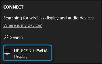 Equipos HP - Uso compartido de la pantalla a través de Miracast