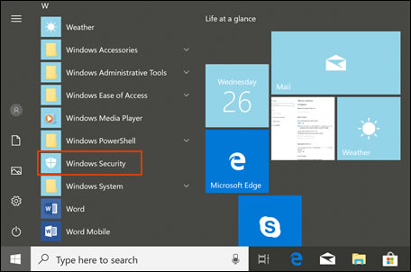 Selecting Windows Security in the apps list