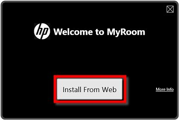 Image of the HP MyRoom welcome screen with the Install From Web button selected
