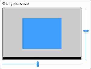 Use the slider bars to adjust the Lens size