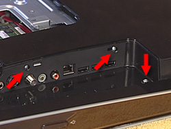 Image showing location of three screws in the I/O area