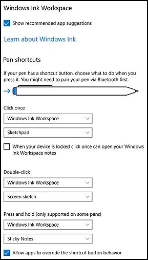 Windows Ink Workspace features your pen might have