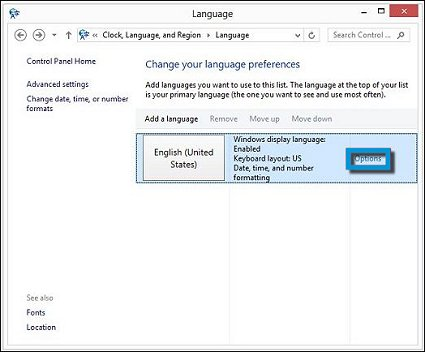 Options box in Change your language preferences