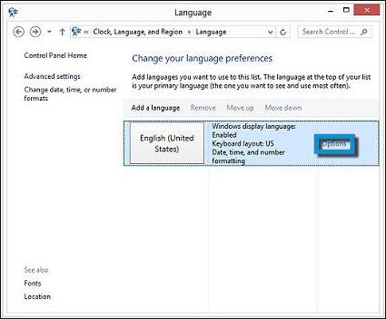 Cuadro de opciones en Cambie sus preferencias de idioma