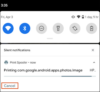 Cancelling a print job on Android