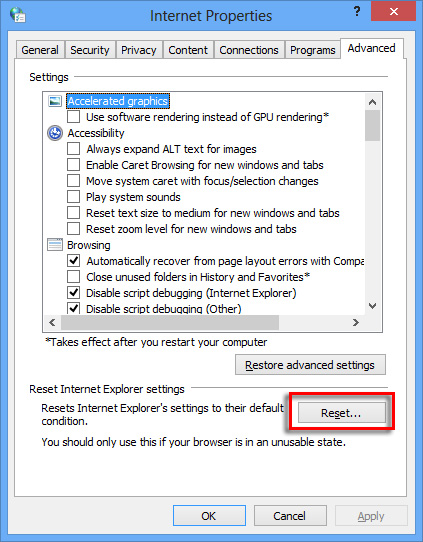 Reset button on the Advanced tab of Internet Properties