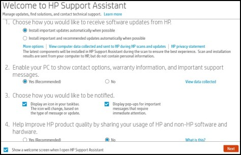 Welcome to HP Support Assistant window displays
