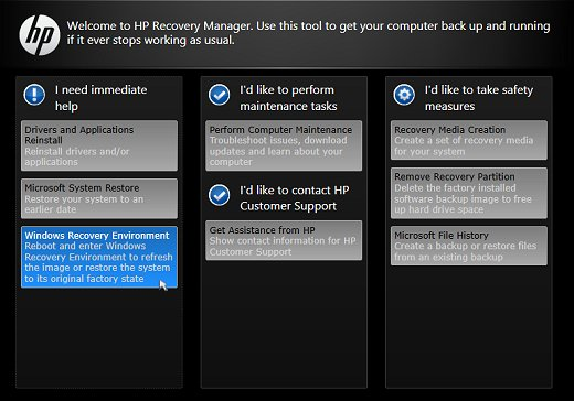 Recovery Manager main screen with Windows Recovery Environment selected