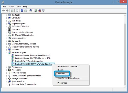 Device Manager screen with the Wi-Fi adapter highlighted and the Uninstall selection called out