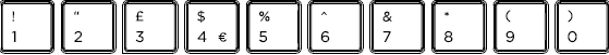 United Kingdom keyboard top row detail
