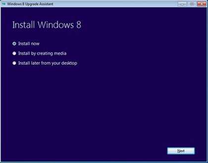 Install Windows 8 window