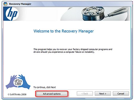 Image of Welcome to the Recovery Manager window