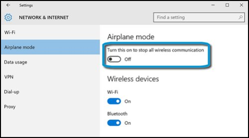 Network & Internet menu with airplane mode set to off