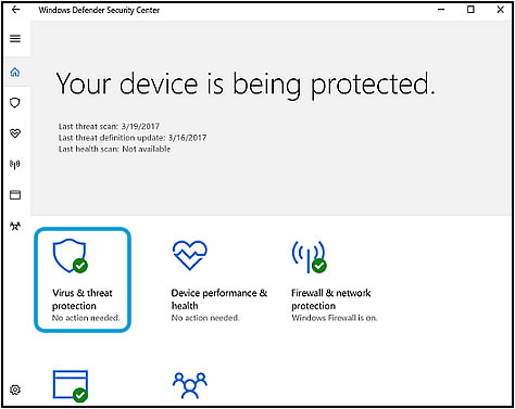 Virus & threat protection on the Windows Defender opening screen