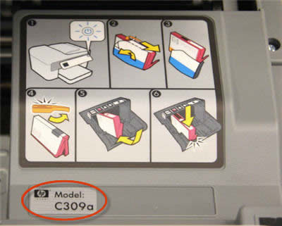 Example model number location (near the ink cartridges)