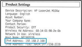Example of the IP address on the Configuration Report