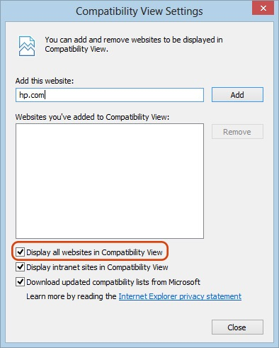 Compatibility View Settings window with Display all websites in Compatibility View checked
