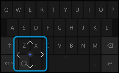 Keyboard with scroll button navigation pad displayed