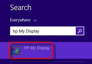 Search with HP My Display selected
