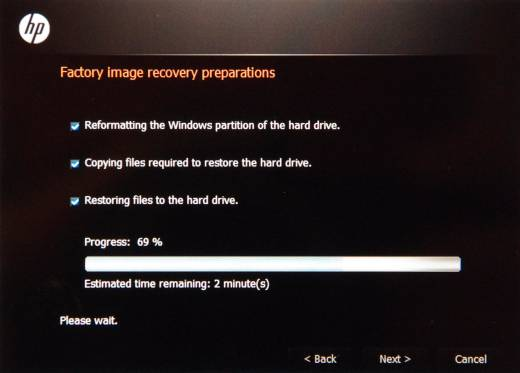 Factory image recovery preparations screen showing the progress of recovery at 69%.