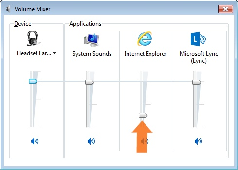 Volume mixer window with 4 volume adjuster and an arrow callout point up under the Internet Explorer volume adjustment.