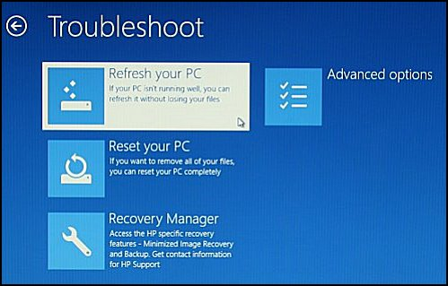 Selecting Refresh your PC on the Troubleshoot screen