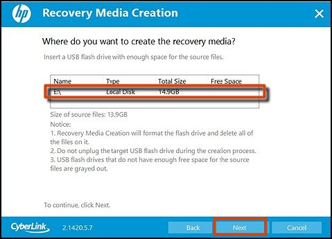 Selecting where to save the backup and next selected