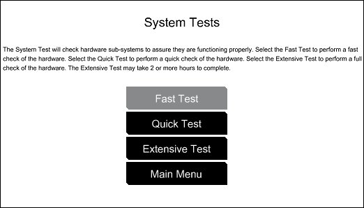 System tests opening screen