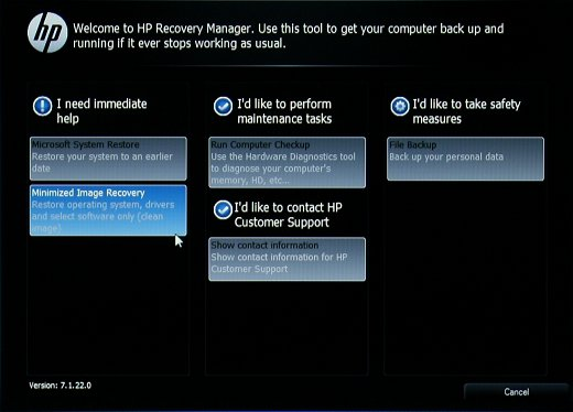 Recovery Manager main screen with Minimized Image Recovery selected