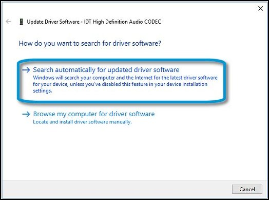HP PCs - A 'No Audio Device is installed' Message Displays
