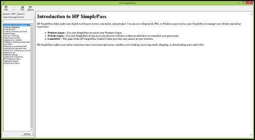 HP Notebook PCs - Using HP SimplePass with a Fingerprint
