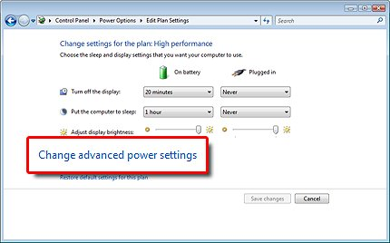 Power settings with Change advanced power settings selected
