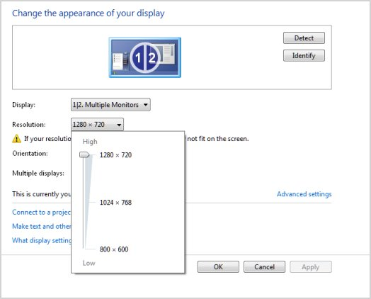 Resolution setting in the Change the appearance of your display window