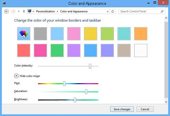 Color and Appearance window.