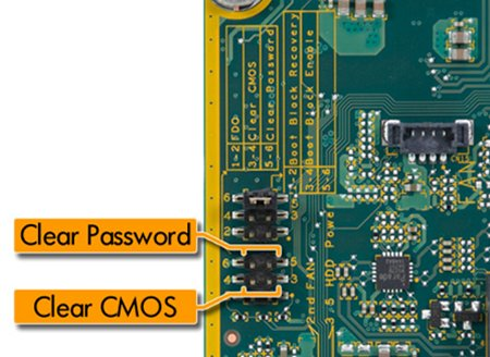 Clear CMOS and clear password pins
