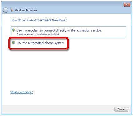 windows activation automated phone system