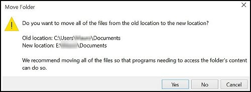 Move folder with old address and new address for your folder.