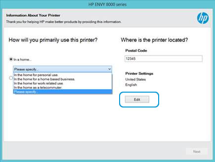 Image: Information About Your Printer screen with language selection