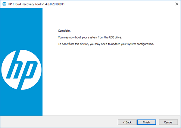 HP Cloud Recovery Tool complete window
