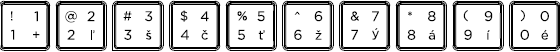 Slovak keyboard top row detail