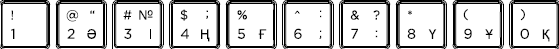 Kazakh keyboard top row detail