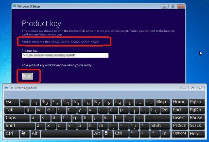 Windows 8 Product key screen