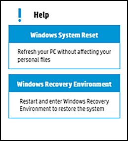 Recovery options available for your computer