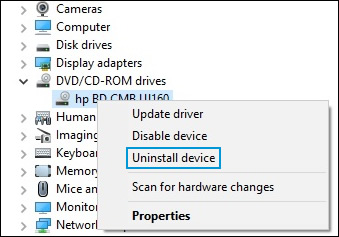 Device Manager window, uninstall DVD/CD-ROM drive