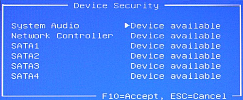 Changing the Device Security setting
