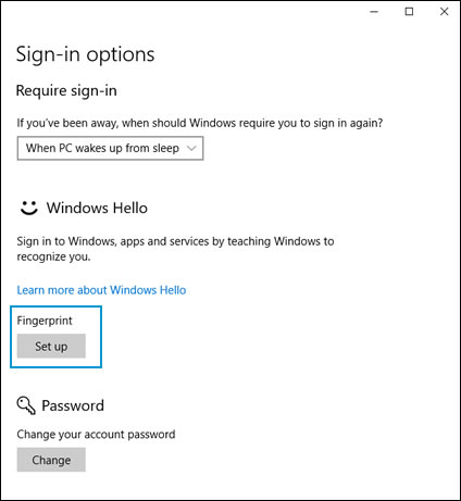 Adding a fingerprint to the sign-in options