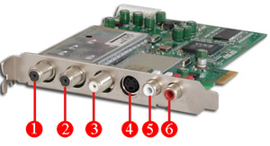 Image of available ports on TV tuner card bracket
