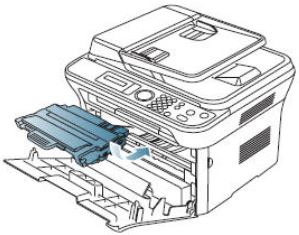 Image shows inserting toner cartridge