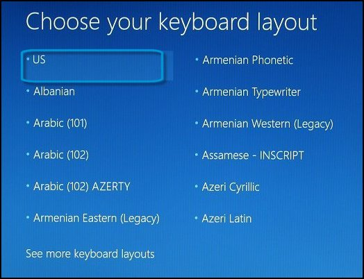 Choose your keyboard layout screen